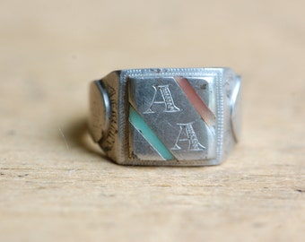 Vintage 1940s Africa souvenir military ring ∙ WWII commemorative African ring