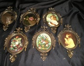 Lot of 6 Italian Ornate Metal Framed Pictures/Mirrors Victorian like Wall Art Vintage Home Decor..