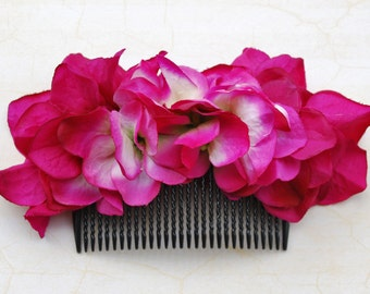 Beautiful hot pink hydrangea hair comb vintage rockabilly style wedding 40s 50s pin up fascinator hairflower haircomb