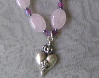 Rose Quartz Fleur de lis Sterling Silver  Necklace