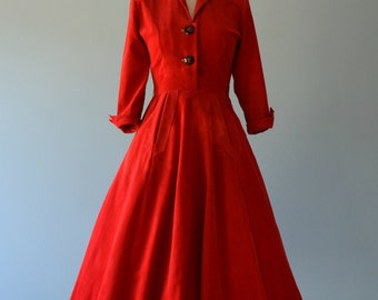 Vintage 1950s Day Dress...JONATHAN LOGAN Scarlet Red Cordurory Day Dress