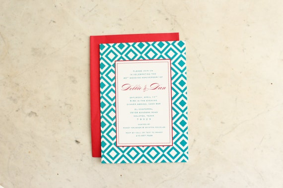 engagement, anniversary, birthday party or wedding shower invitation - diamonds (teal and red)