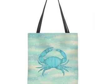 Crab Tote Bag, beach tote, shopping bag, blue crab, crab bag, nautical tote bag, blue tote bag, book bag, gift for her, carryall