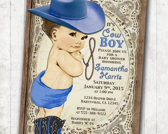 Cowboy Baby Shower Invitation DIY Printable