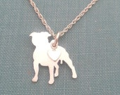 Staffordshire Bull Terrier Dog Necklace, Sterling Silver Personalize Pendant, Breed Silhouette Charm, Rescue Shelter