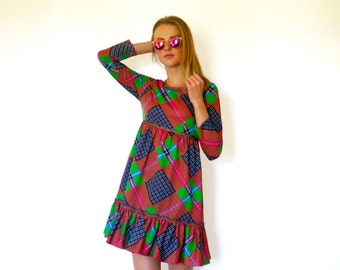 70s Vibrant Colorful Plaid Polyester Babydoll Dress xs s