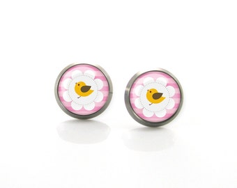 Yellow and Pink Bird Titanium Post Earrings | Hypoallergenic Sensitive Stud | Titanium Earrings | Funny Girls earrings | Children Earrings