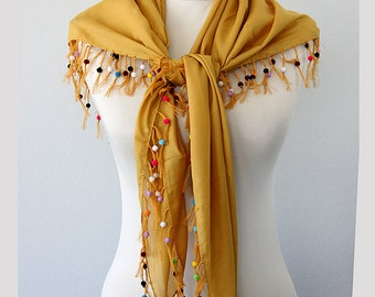 Beaded scarf Mustard scarf Summer accessories Turkish scarves Women fashion Summer shawl Gauze shawl Cotton scarf Gift idea for her