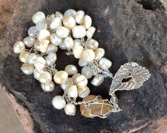 white pearl chain bracelet. Sterling leaf clasp. Agate drop. Wire wrapped