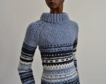 SALE! Dreamer, hand-knitted sweater for Dollshe boys, 70cm