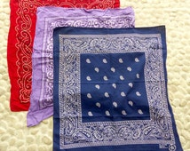 3 Vintage Bandana Scarves Lot: Red, Mauve, Navy Blue #MB5