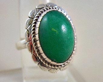 Genuine Chrysoprase Green Sterling Silver Ring