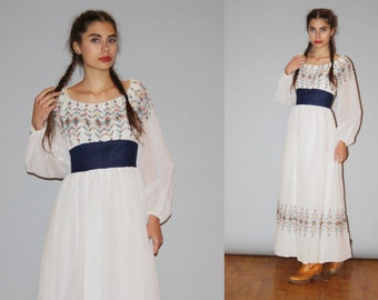 Vintage 1960s Oaxacan White Rainbow Floral Embroidered Boho Hippie Folk Mexican Ethnic Maxi Dress  -  Embroidered Wedding Dresses  - WD0918