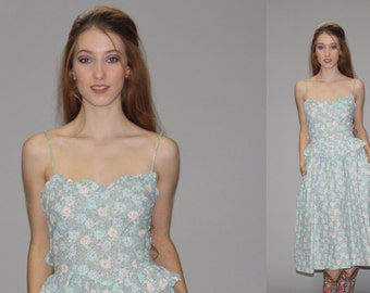 Gunne Sax Mint Green Vintage 1980s Dress - 80s Gunne Sax Floral Dress - 1980s Prairie Floral Dress -  Gunne Sax Size 5 Dress  - WD0589