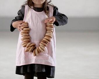 Kids apron Girls clothes Linen apron dress Pinafore apron Kids retro apron cross back Natural linen