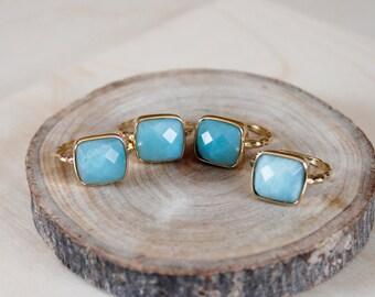 GEMSTONE RING/// Aventurine Size 8 Gold Square Ring/ Mint Green Aventurine Gemstone/ Natural Stone Mineral Gem Stone Gold Ring (RPS11-Av)