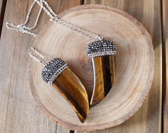 Silver Swarovski Crystal Tiger's Eye Horn Pendant Necklace/ Tigers Eye Gemstone Necklace/ Horn Tusk Metallic Swarovski Crystal (NPS10)