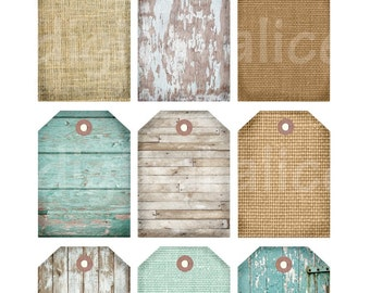 BEACH TEXTURES Printable Gift Tags, Beach House Collage Sheet, Digital Gift Tags,wedding Party - Instant Download Digital Instant Print DiY