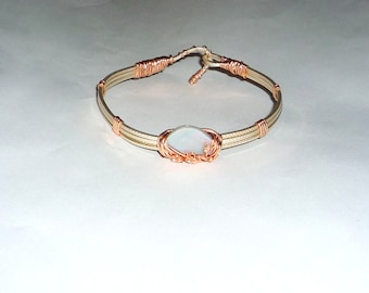 Wire Wrapped Natural  4.15 ct. Lightning Ridge Opal  Cuff Bracelet Sterling Silver .925 & 14K Rolled Pink Gold