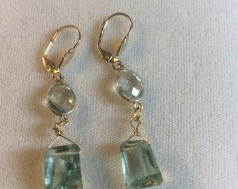 Gorgeous Prasiolite earrings with vermeil