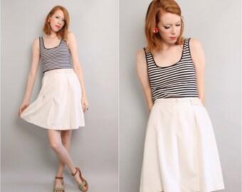 1970's White Pleated Skirt / Tennis Skirt / Skort / Small Medium