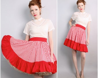 Vintage Can Can Skirt / Flare 1950's style Skirt / Red Gingham / Medium-Large