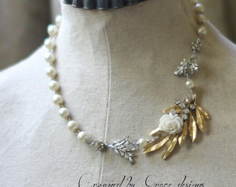 Gardenia Rose~ vintage assemblage necklace white flower one of a kind garden pearls  one of a kind crowned by grace
