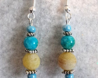 Dangle Earrings, Gemstone Earrings, Yellow and Turquoise, Lemon Jade, Dragon Vein, Gift For Her - LEMON ZEST