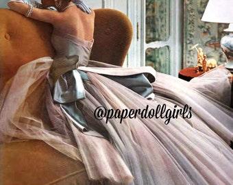 RESERVED for Michele Vintage Fashion Magazine Advertisement French Vogue April 1950 Ad Paris Jean Desses Ballgown Haute Couture