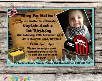 Pirate Treasure Birthday Party Invitation - Printable - Digital File - INSTANT DOWNLOAD