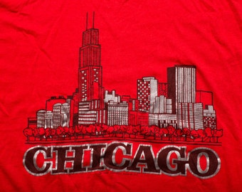 Chicago Skyline T-Shirt, Windy City, Sears Tower, Screen Stars, Vintage 80s, Paper Thin 50/50 Graphic Tee