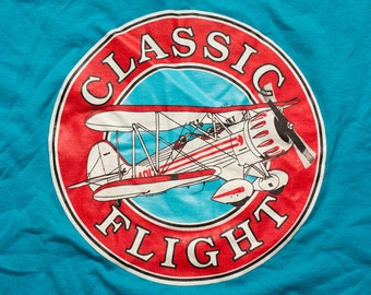 Classic Flight Airplane T-Shirt, Propeller Plane, Aviation, Vintage 90s