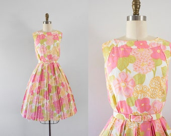 1960s Spring Bloom satin crepe dress / 60s floral beauty
