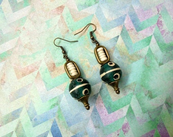 Teal, Ivory and Black Ethnic Earrings (2296)