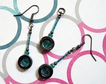 Aqua and Black Pendant and Earrings (0599)