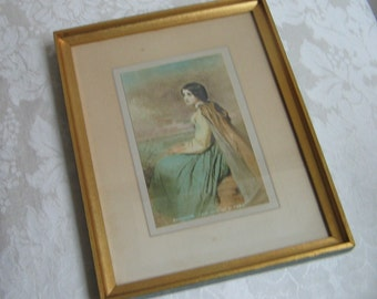 Vintage Evangeline Wall Art Print By Faed In Gold Wood Frame, Haunting Image of Woman At Grave From Longfellow Poem, Victorian Portrait