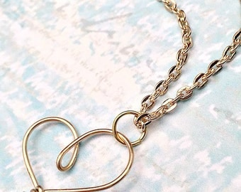 Gold Heart Necklace - Wire Wrap Jewelry - Monogram Necklace - As Seen on TV - Heart Jewelry - As Seen on Law and Order:SVU