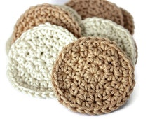 Crochet Face Scrubby Set of Five - Reusable Cotton Rounds in colors of Cream or Tan - Cotton Face Scrubbers
