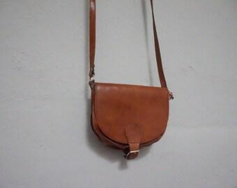 STOREWIDE CLEAROUT SALE cross body 90s leather cognac long strap shoulder bag vintage 1990s western southwestern travel bag purse small ligh