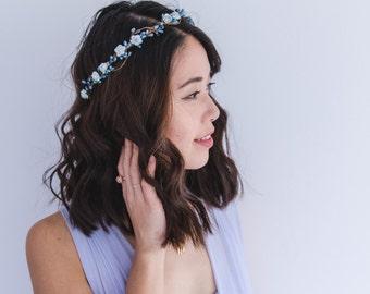 blue rose & berry flower crown // bridal wedding flower crown headband rustic forest garden spring woodland headpiece