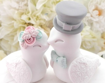 Love Birds Wedding Cake Topper, White, Dusty Pink, Mint and Grey, Bride and Groom Keepsake, Fully Customizable