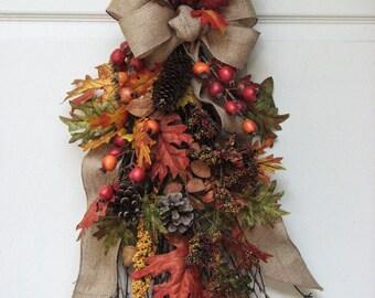 Fall Swag, Autumn Swag, Fall Wall Decor, Fall Wall Hanging, Front Door Wreath, Outdoor Door Wreath Fall, Fall Door Wreath