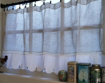 Grape Sheer Kitchen Cafe Curtain, Natural Linen Curtain, Grapevine French Curtain , Embroidered 48 inches wide Scalloped Window Valance