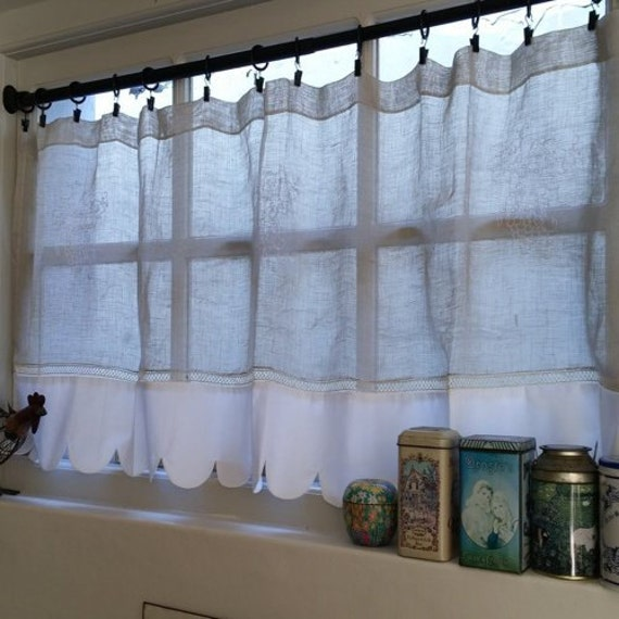Kitchen Window Cafe Curtains: Grape Sheer Kitchen Cafe Curtain Natural Linen By LinenAndLetters