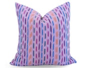 LIMITED 016 - Guatemalan Ikat Stripe Pillow Cover - Pink - Woven in Guatemala - Boho Pillow - Designer Pillow - Ikat Pillow - Throw Pillow