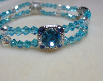 2 Strand bead bracelet shades of blue