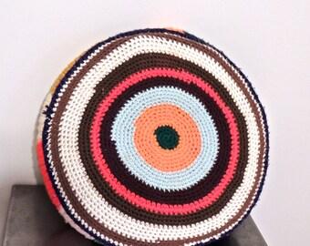 vintage round throw pillow - 1960s mid century crocheted round pillow