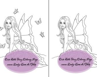 Cute Little Fairy Girl Fae Butterflies Fantasy Flower Coloring Page Zindy Nielsen