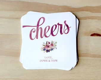 Watercolor Cheers Floral Paper Coasters with for wedding reception, CUSTOMIZABLE for Rehearsal Dinners, Events, Housewarming Gift