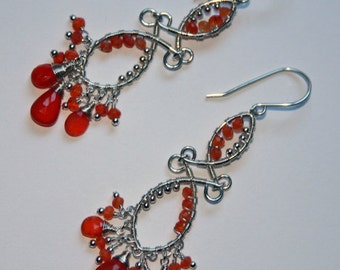 Handmade wire wrapped chandelier earrings with Carnelian and silver beads